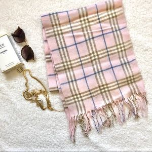 Authentic Burberry Pink Plaid Cashmere Scarf